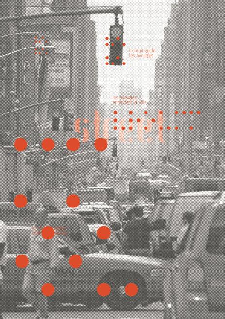 Cartaz com uma foto preta e branca de Nova Iorque, com diversos pontinhos vermelhos