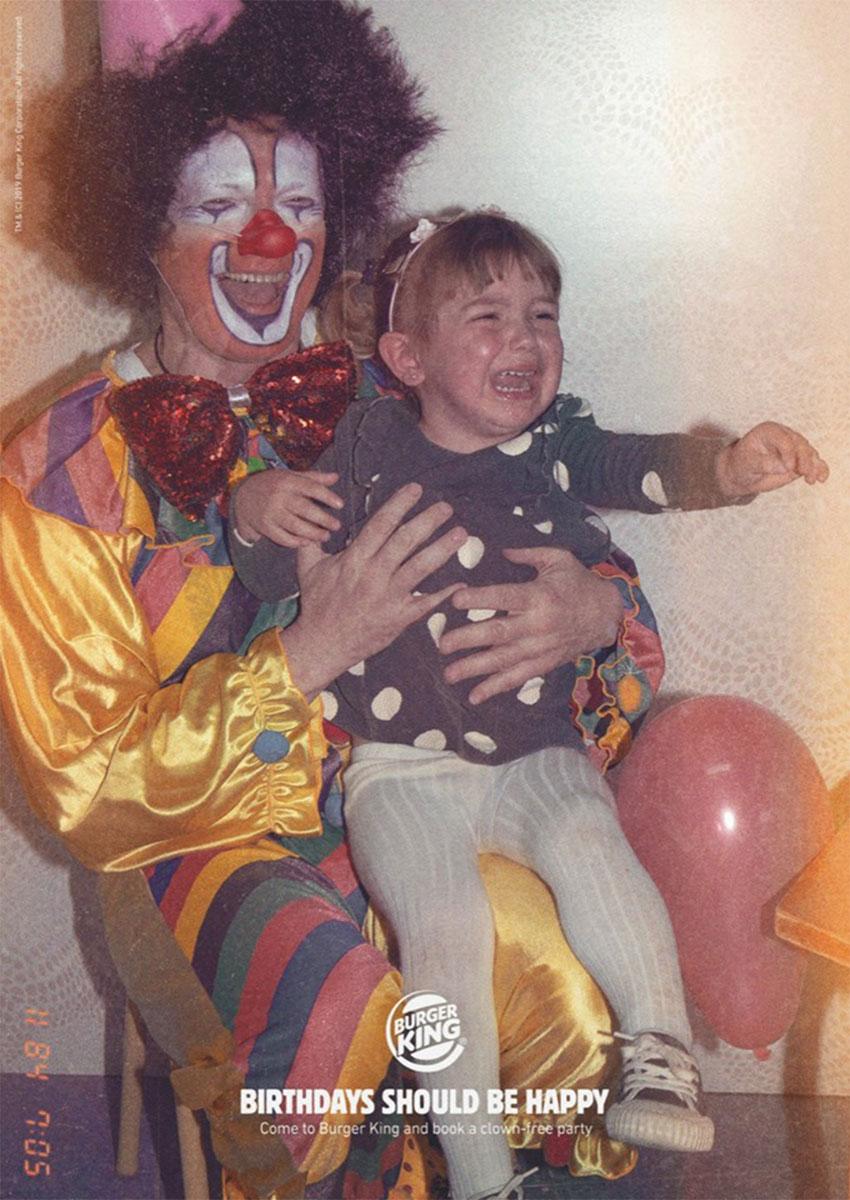 Campanha do Burger King, garota chorando no colo de palhaço