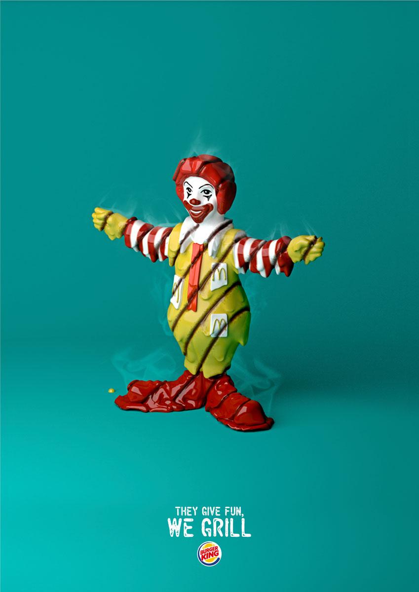 Campanha do McDonald's e o Ronald McDonald grelhado