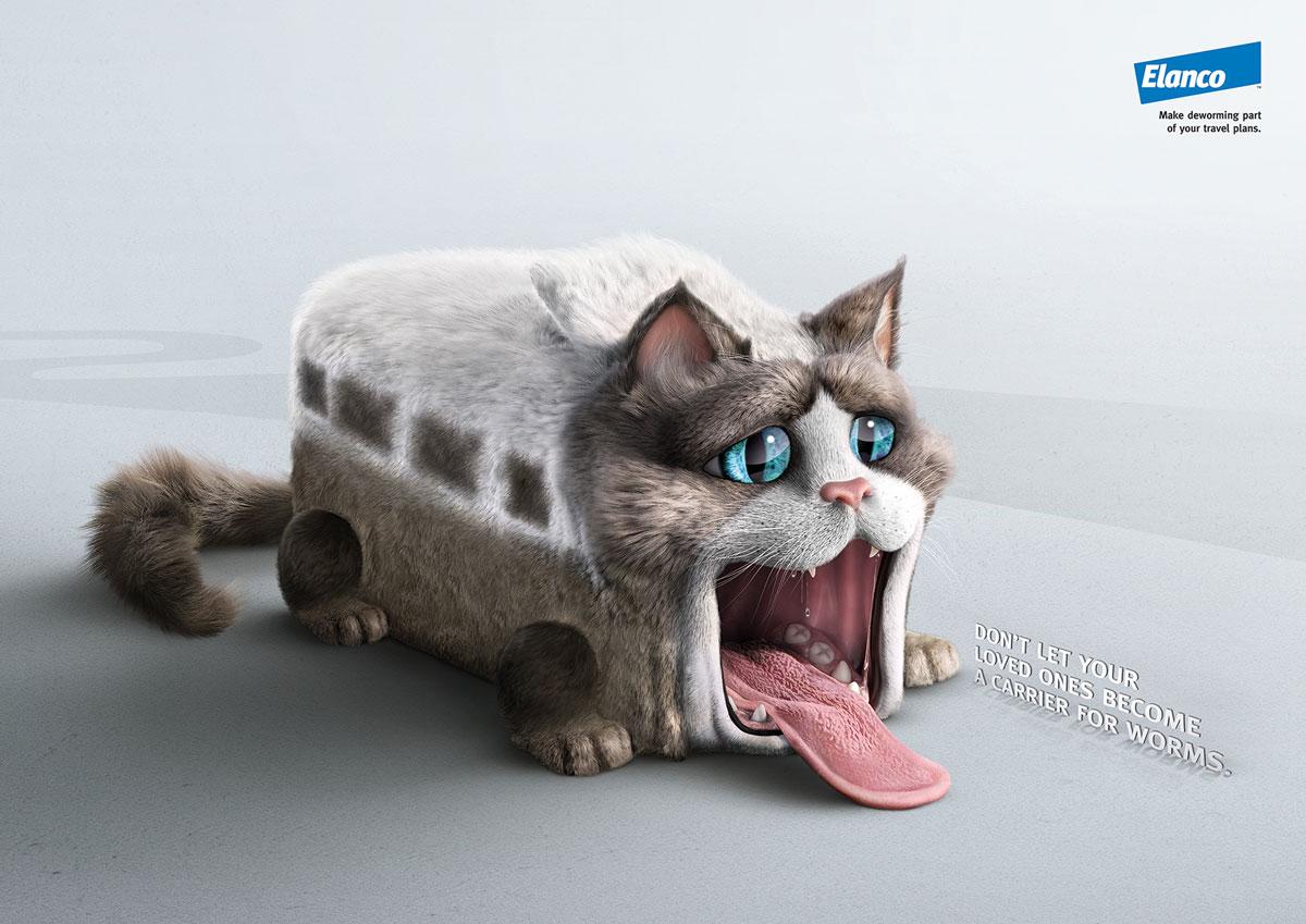 Campanha da Elanco, gato em formato de ônibus com boca aberta para vermes