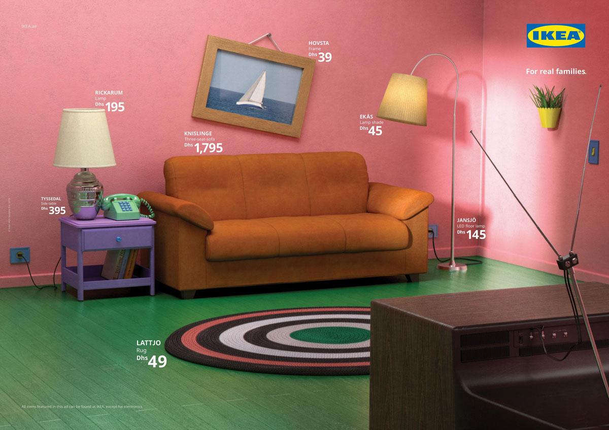 Sala de estar dos Simpson's em campanha da Ikea
