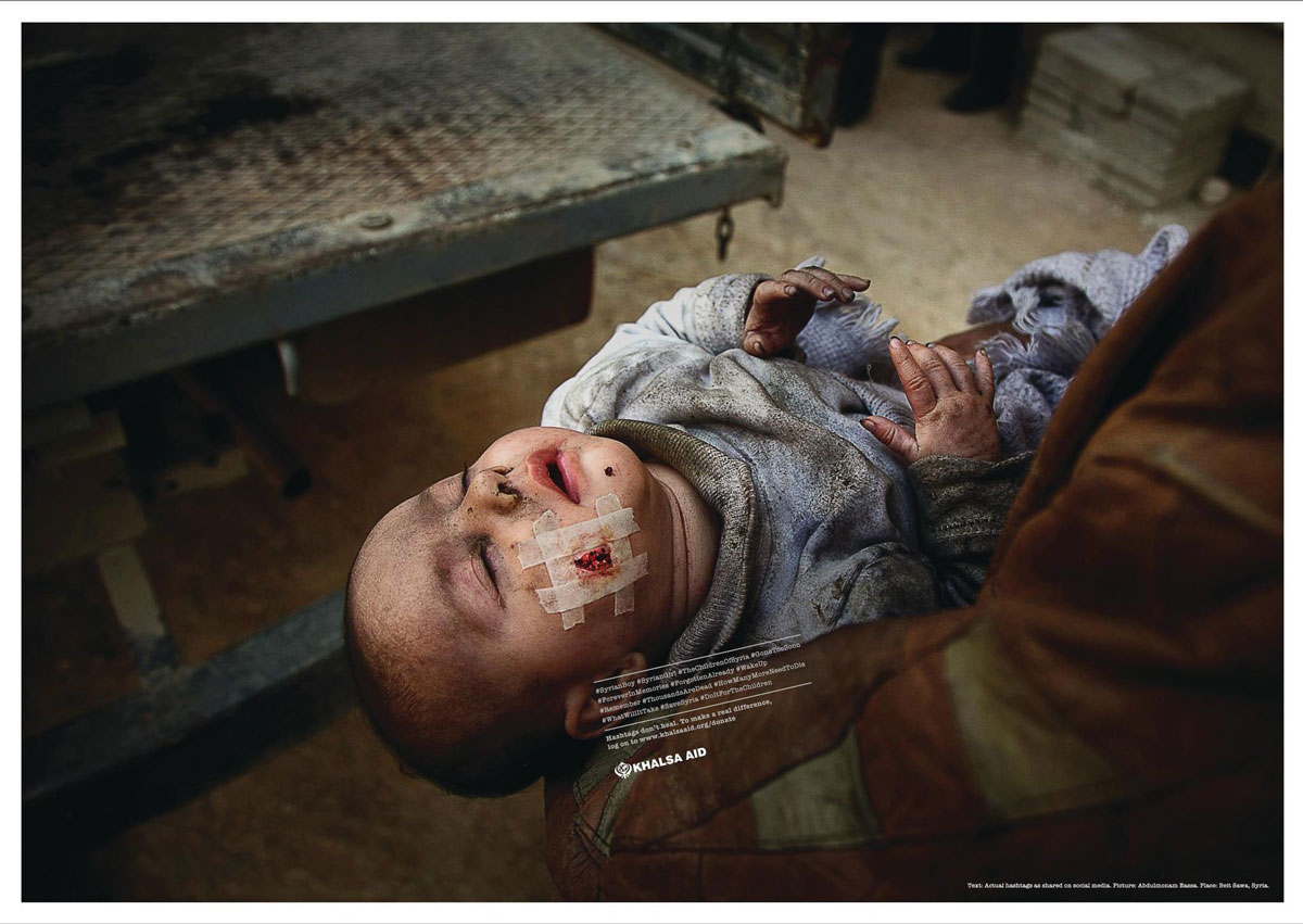 Campanha da Khalsa Aid, bebê com curativo hashtag no rosto
