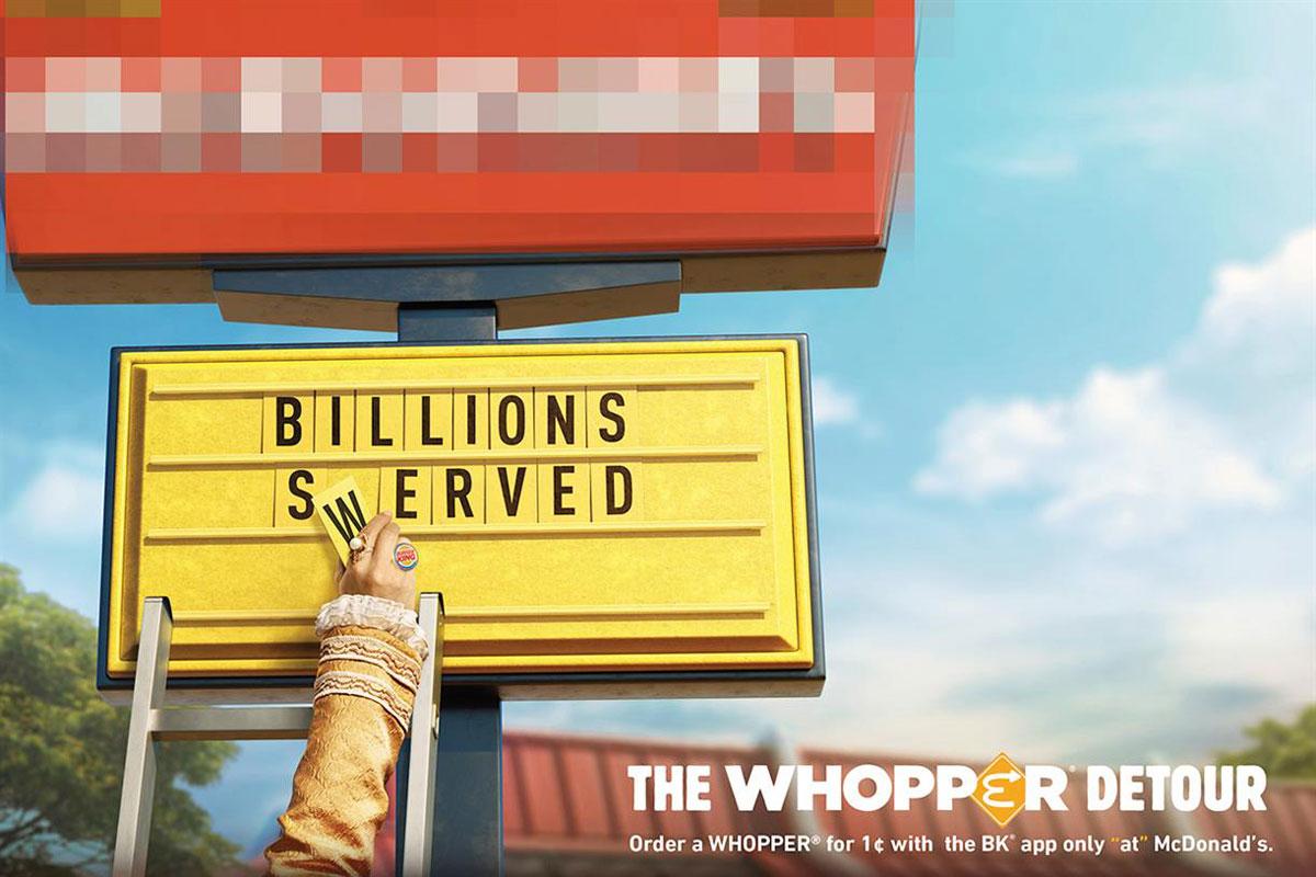 Campanha do BurgerKing, placa de desvio de clientes do McDonald's