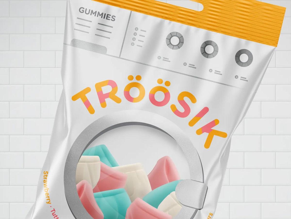 Embalagem de jujuba inspirada em lavadora de roupas