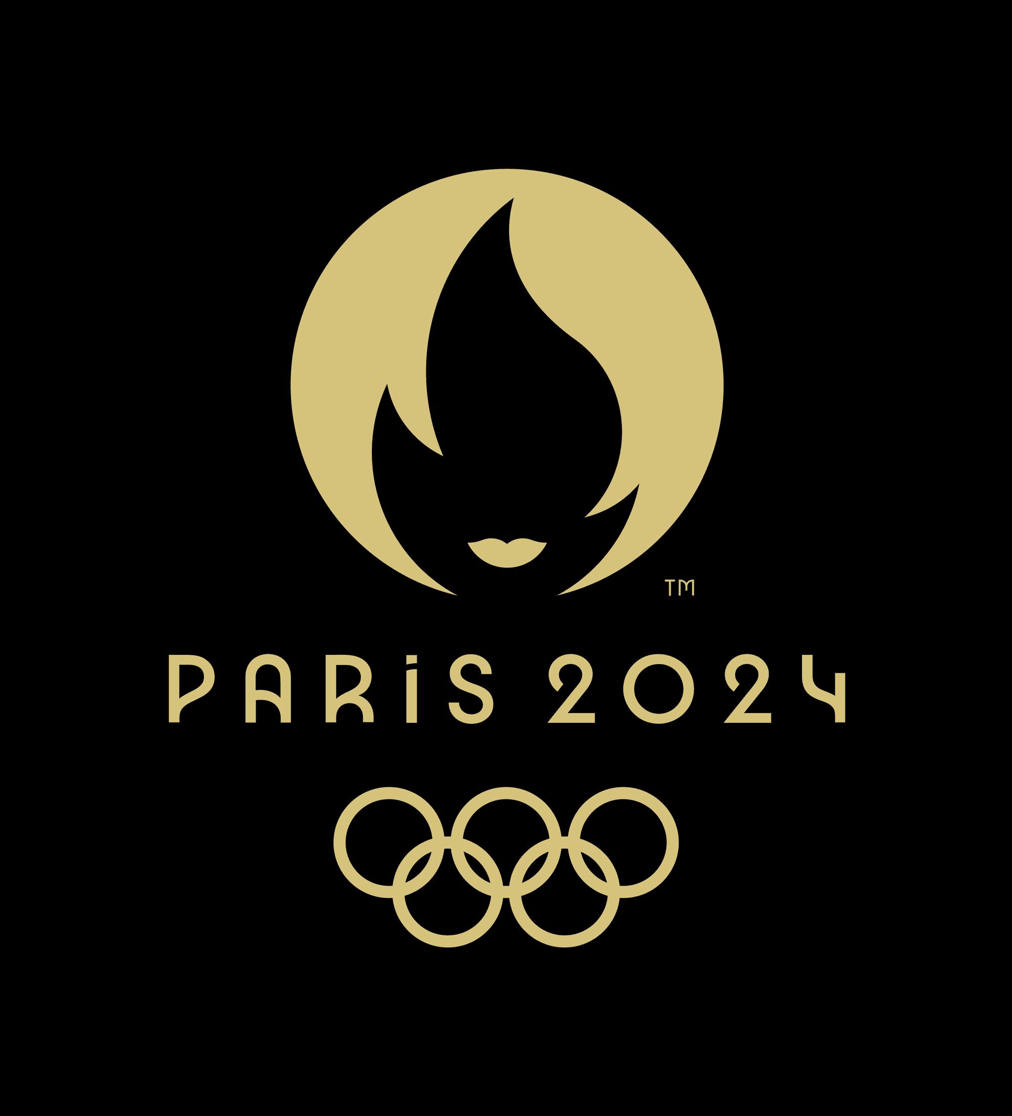 Logo das Olimpíadas 2024 com fundo preto