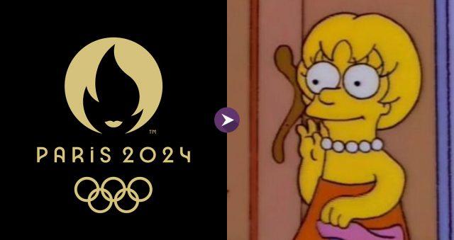 Comparação do logo das Olimpíadas de Paris 2024 e um penteado da Lisa Simpson