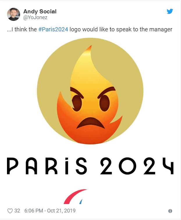 Emoji com raiva dentro do penteado do logo de Paris 2024
