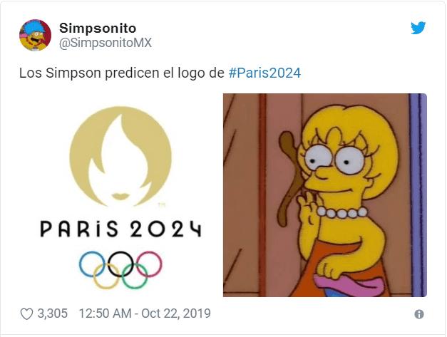 Comparação do emblema das Olimpíadas de Paris 2024 com a Lisa Simpson