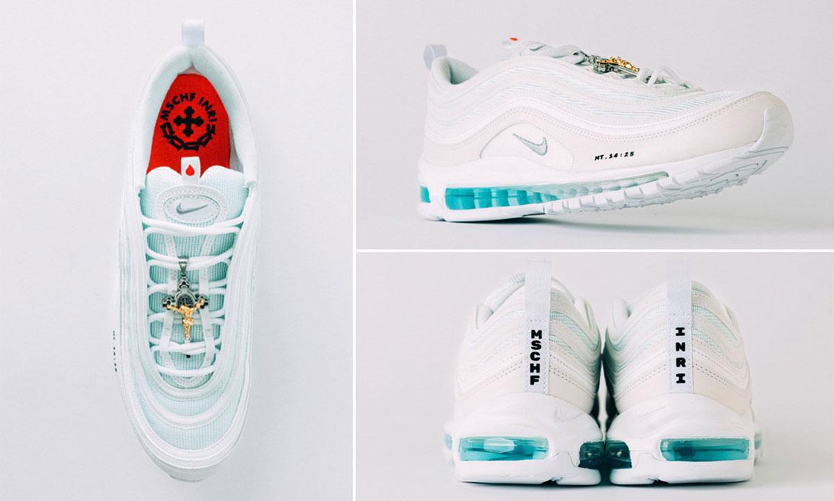 Visão superior do Nike, mostrando pamilha vermelha, e vista lateral e traseira dos sneakers