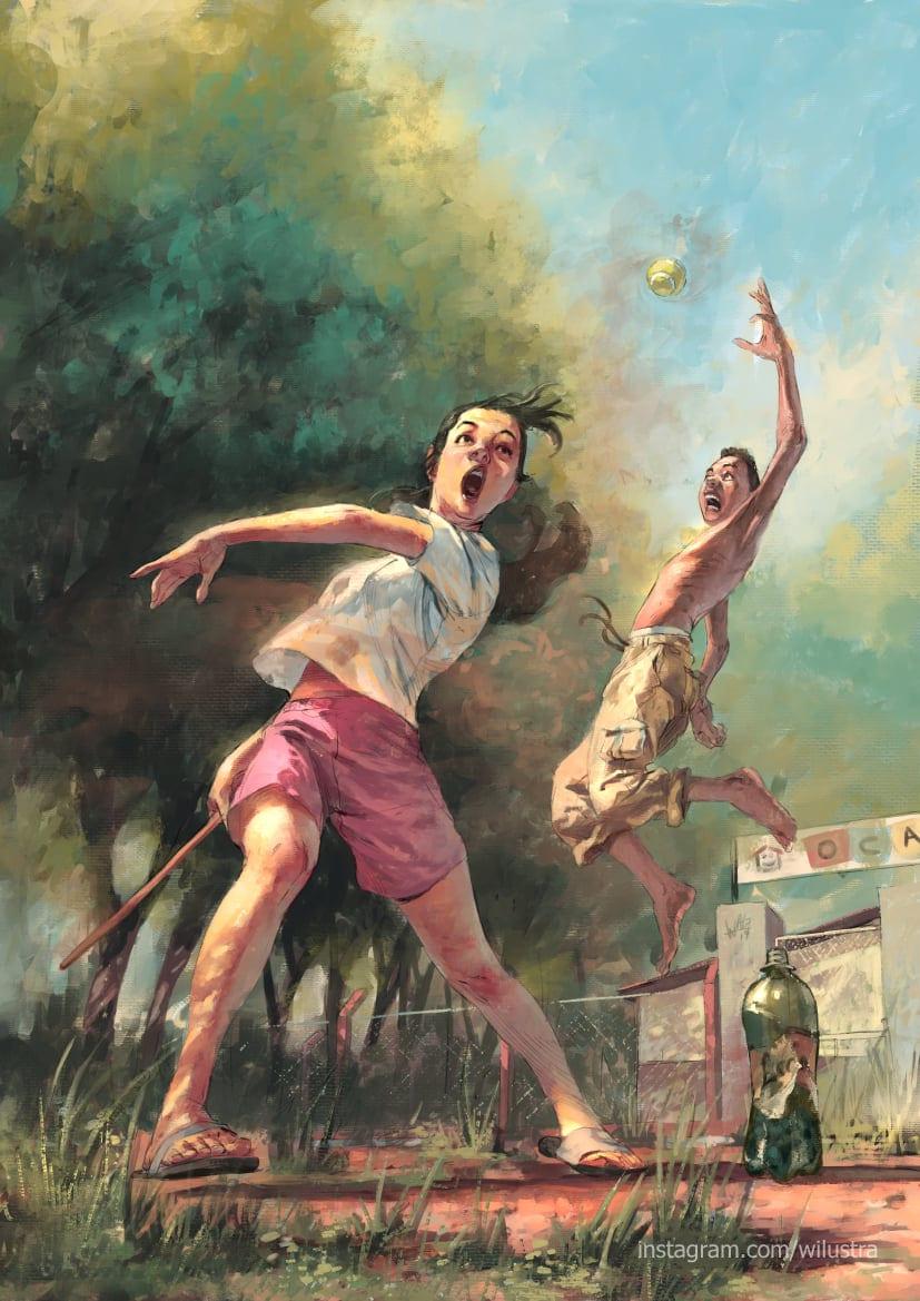 Duas crianças jogando bets, com garota prestes a bater taco na bolinha