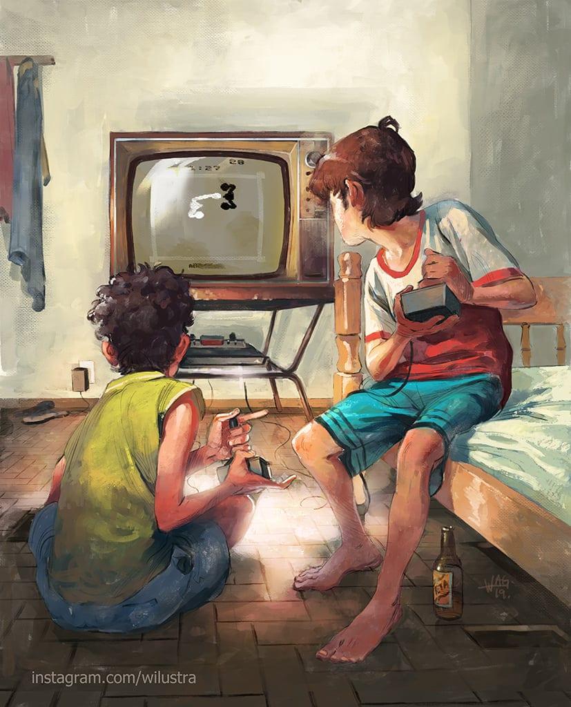 Dois garotos jogando vídeo game Atari