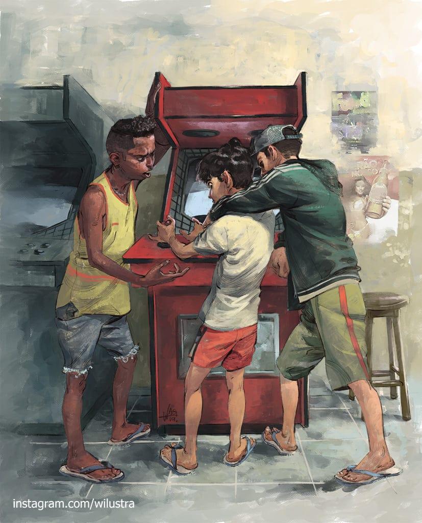 Pivetes de fliperama segurando criança pelo pescoço